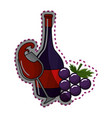 sticker glass splashing wine and bottle and grape vector image