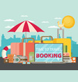 time to travel set of travel equipment flat vector image