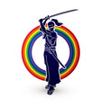 samurai standing with sword katana ready to fight vector image