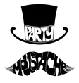 party Mustache and hat with text vector image