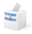 Ballot box with voting paper Argentina vector image