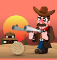 cowboy with gun and hat vector image