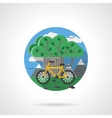 Tree and bike color detailed icon vector image