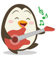 character of penguin with guitar vector image