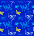 grunge seamless pattern with butterflys vector image