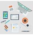 Concept of workplace with office devices and items vector image