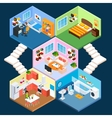 Multistory isometric interior vector image vector image