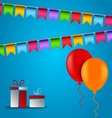 Birthday card with flags balloons and gifts vector image