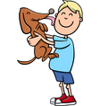boy with puppy cartoon vector image