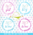 Cute Baby Girl Boy and Twins Design Elements vector image