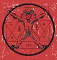 devil with pentagram on red textured background vector image