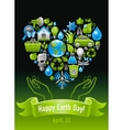Ecological set with green icons and human hands on vector image