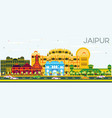 jaipur skyline with color buildings and blue sky vector image
