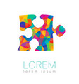 modern silhouette puzzle logotype vector image