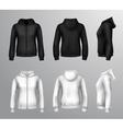 Women Black And White Hooded Sweatshirts vector image