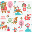 Cute Christmas animals pattern vector image