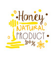 honey natural product 100 percent logo symbol vector image