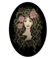 Creative oval  Beautiful hand drawn girl wit vector image