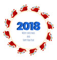 2018 happy new year numbers design with santa vector image