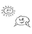 sun cloud bw vector image vector image