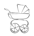 Sketched baby stroller buggy isolated on white vector image