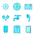 blue icons set cartoon style vector image