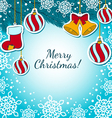 Christmas decorations on a blue BG vector image
