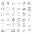 food icons set outline style vector image