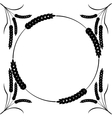 monocrome black wheat round frame isolated on vector image
