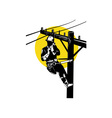 Power Lineman on Phone vector image