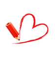 Red chalk heart vector image