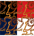 Set of seamless patterns with handdrawn Gold chain vector image