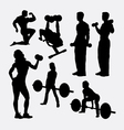 Fitness male and female activity silhouette vector image