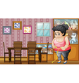 A fat lady measuring her hips vector image vector image
