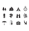 Silhouette Camping and Tourism icons vector image
