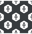 Black hexagon microphone pattern vector image