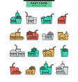 Sets burgers with drinks potato fries and ice vector image