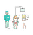 dental care dentist doctor nurse and patient in vector image