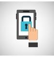 hand hold icon padlock password design flat vector image
