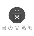 lock with check line icon private locker sign vector image