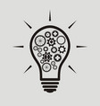 simple light bulb conceptual icon with gears vector image