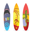 surf board set in various color vector image