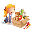 A girl with a box of toys vector image vector image