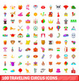 100 traveling circus icons set cartoon style vector image