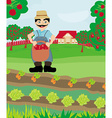 farmer with a basket of apples vector image