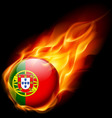 Round glossy icon of portugal vector image