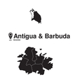 Antigua and Barbuda map regions vector image