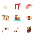 Attractions of Japan icons set cartoon style vector image
