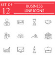 business line icon icon set finance and managment vector image