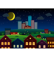 City and suburbs on hill at night vector image